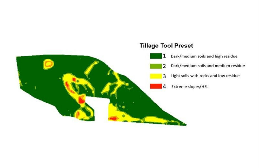 Tillage tool Preset map based on field slope and combine yield data