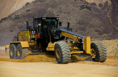 24 Cat Motor Grader in Action
